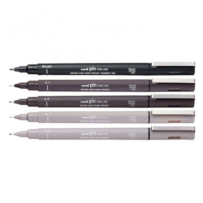 Uni Pin Fineliner - set of 5 Black/Dark Grey/Light Grey