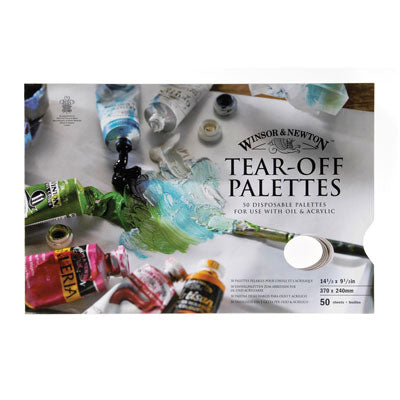 Tear-off palette contains 50 disposable vegetable parchment palettes, for use with oil, alkyd colour or acrylic.