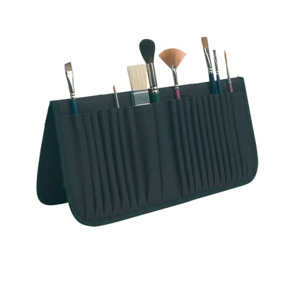 Fabric brush easel can hold approximately 20 brushes, both short and long handled.