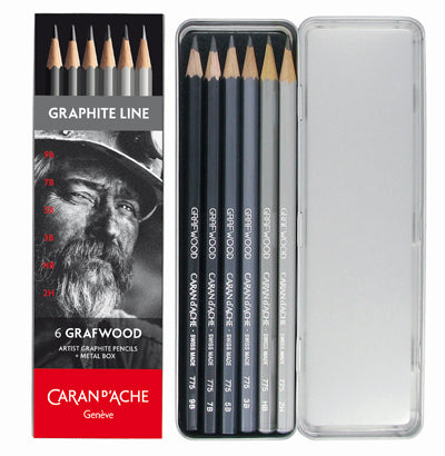 Caran d'Ache Grafwood pencils are made from extra-fine graphite and come in fifteen shades of graphite