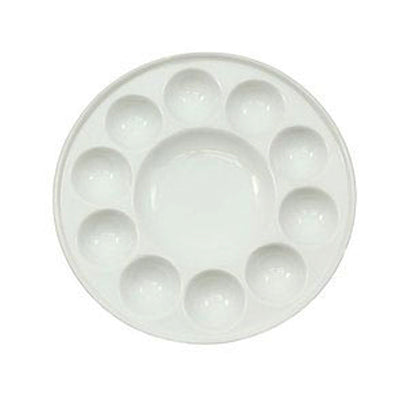 "Ceramic 11 well palette ideal for watercolour paint.  7"" diameter."