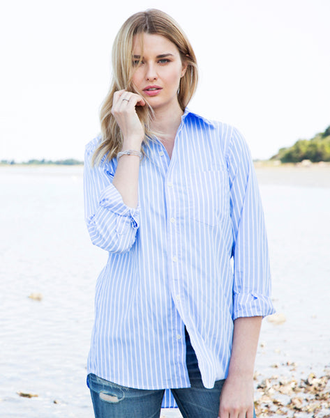 Boyfriend Stripe Shirt-blue/white