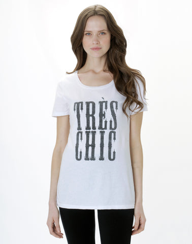 Tres Chic Tee - grey mix/white