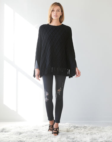 Diamond Knit Poncho