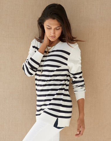 Nautical Stripe Sweater - cream/navy