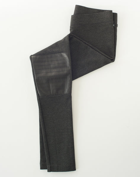 PULL-ON MOTO LEGGING PANT with leather - CHARCOAL HEATHER