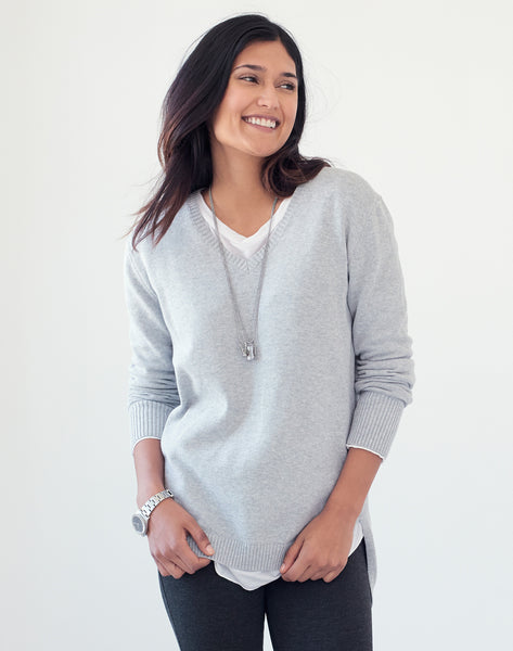 Vneck Tunic Sweater - grey mix