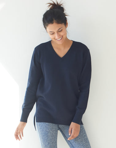 Vneck Tunic Sweater - navy