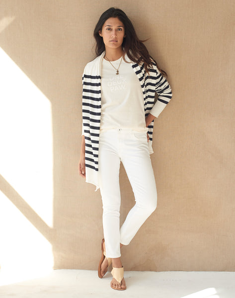 Stripe Tissue Cardigan - cream/navy