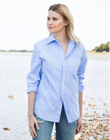 Boyfriend Stripe Shirt - blue/white