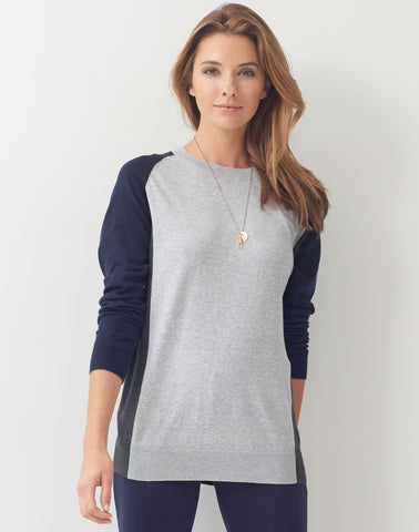 Color Block Sweater - navy/grey