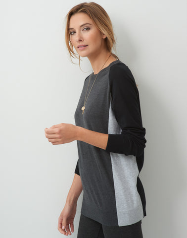 Color Block Sweater - black/charcoal/grey