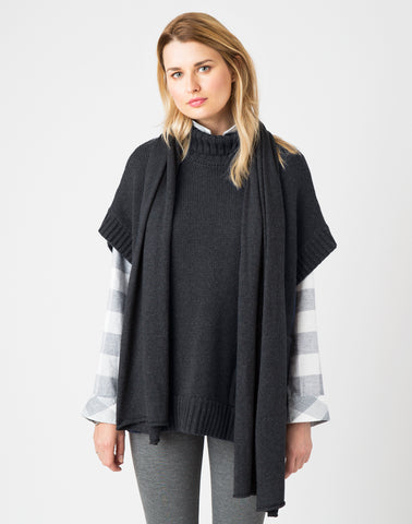 Tissue Cotton Scarf-charcoal