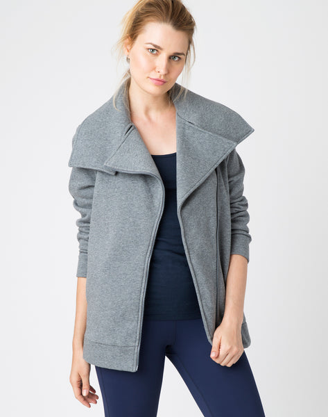 Cotton Fleece Moto Jacket - charcoal