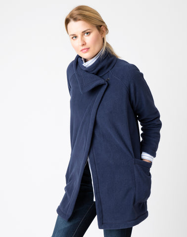 Polar Fleece Funnel Coat - navy