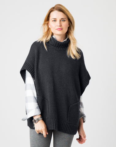 Luxe Poncho-charcoal heather