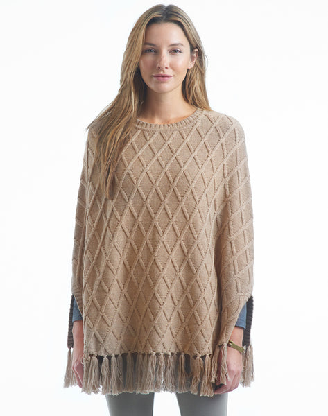 Diamond Knit Poncho - oatmeal