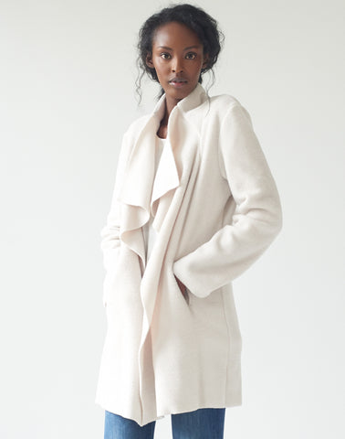 Polar Fleece Wrap Coat - natural