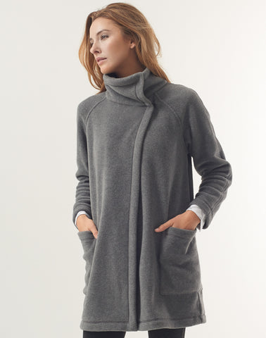 Polar Fleece Funnel Coat - heather grey