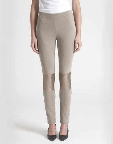 Pull-on Moto Legging Pant w/Leather - charcoal