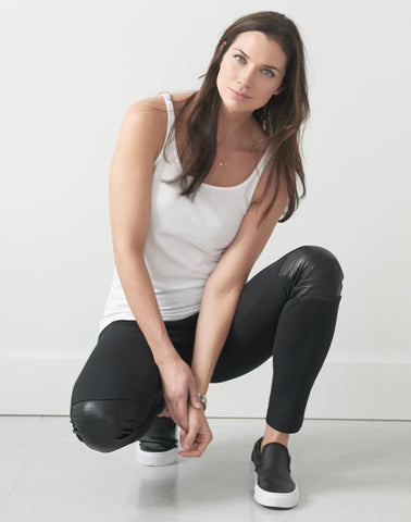 Pull-on Moto Legging Pant w/Leather - black