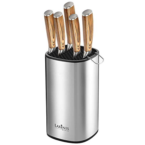 "Universal Knife Block, Stainless Steel Knife Holder, Knife Organizer, Modern Rectangular Design, 8.5"" by 5"""