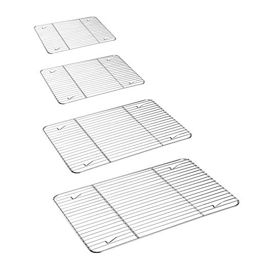 Cooling Rack Set for Baking Cooking Roasting Oven Use, 4-Piece Stainless Steel Grill Racks, Fit Various Size Cookie Sheets - Oven & Dishwasher Safe