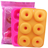 Silicone Donut Pan, 2pcs Non-Stick Mold, Silicone Donut Mold for 6 Full-Size Donuts, Bagels and More