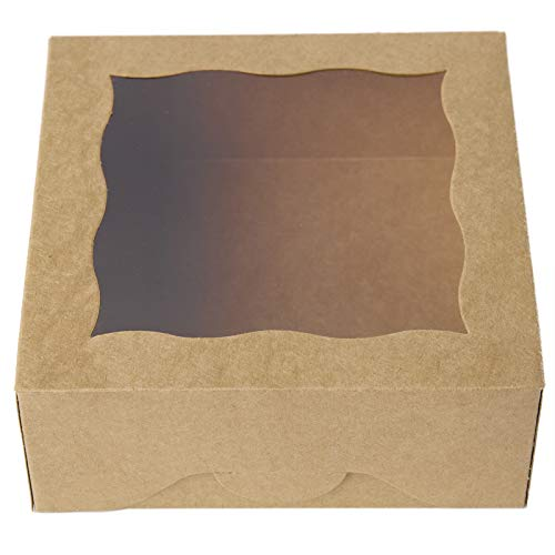 "6""Brown Bakery Boxes with PVC Window for Pie and Cookies Boxes Small Natural Craft Paper Box 6x6x2.5inch,12 of Pack"