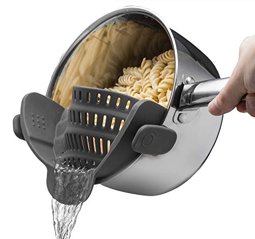Snap N Strain Strainer - Gray | Patented Clip On Silicone Colander | Fits all Pots and Bowls