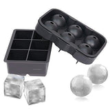 Ice Cube Trays (Set of 2) Silicone Sphere Whiskey Ice Ball Maker with Lids Large Square Ice Cube Molds for Cocktails Bourbon