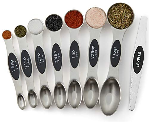 Magnetic Measuring Spoons Set, Dual Sided, Stainless Steel, Fits in Spice Jars, Set of 8