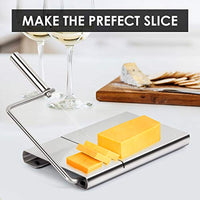 Wire Cheese Slicer, Stainless Steel Cheese Cutter with Serving Board