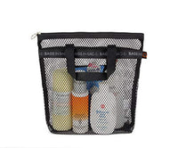 Portable shower Mesh Caddy bag Quick Dry Hanging Toiletry and Bath Organizer for travel and swimming (Black)
