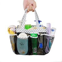 Mesh Shower Caddy Tote, Large College Dorm Bathroom Caddy Organizer with Key Hook and 2 Oxford Handles,8 Basket Pockets for Camp Gym
