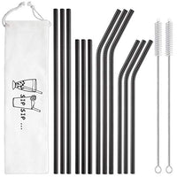12-Pack Black Stainless Steel Straws Reusable with Case - Metal Drinking Straws for 30oz and 20oz Tumblers Yeti Dishwasher Safe, 2 Cleaning Brushes Included