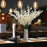 White Artificial Flowers Dancing Lady Butterfly Long Stem Fake Orchids 5 Pcs Silk Fake Flower Arrangements Faux Real Touch for Wedding Home Office Party Hotel Indoor Outdoor Decor