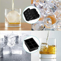 Ice Cube Trays Silicone Set of 2 Sphere Ice Ball Maker with Lid and Large Square Ice Cube Molds for Whiskey