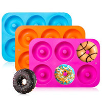 3-Pack Silicone Donut Baking Pan of 100% Nonstick Silicone Mold Sheet Tray Makes Perfect 3 Inch Donuts Tray Measures 10x7 Inches Easy Clean