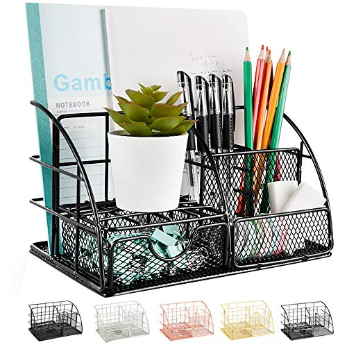 Desk Organizer, Mesh Office Supplies Desk Accessories, Features 5 Compartments + 1 Mini Sliding Drawer(Black)