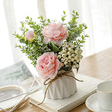 Artificial Flowers with Small Ceramic Vase Silk Roses Fake Plants Eucalyptus Leaves Berries Flower Arrangements Decorations for Home(Pink)