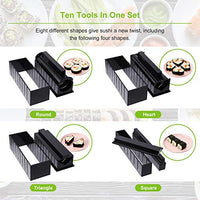 Sushi Making Kit for Beginners 10 Pieces Plastic Sushi Maker Tool Complete with 8 Sushi Rice Roll Mold Shapes Fork Spatula DIY Home Sushi Tool