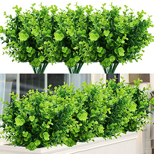 Artificial Plants Flowers Faux Boxwood Shrubs 6 Pack, Lifelike Fake Greenery Foliage with 42 Stems for Garden, Patio Yard, Wedding, Office and Farmhouse Indoor Outdoor Decor