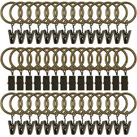 42 Pack Curtain Rings with Clips Decorative Drapery Rustproof Vintage Compatible with up to 5/8 inch Drapery Rod Bronze Color