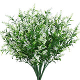 Artificial Lavender Flowers Plants 8 Pieces, Lifelike UV Resistant Fake Shrubs Greenery Bushes Bouquet to Brighten up Your Home Kitchen Garden Indoor Outdoor Decor(White)