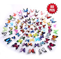 80PCS Butterfly Wall Decals - 3D Butterflies Decor for Wall Removable Mural Stickers Home Decoration Kids Room Bedroom Decor