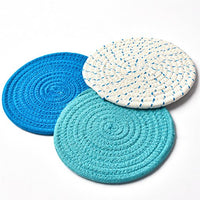 Kitchen Pot Holders Set Trivets Set 100% Pure Cotton Thread Weave Hot Pot Holders Set (Set of 3) Stylish Coasters, Hot Pads, Hot Mats, Spoon Rest For Cooking and Baking by Diameter 7 Inches (Blue)
