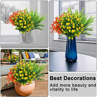 15 Bundles Artificial Flowers Plants Set - Artificial Plastic Plants Outdoor Fake Shrubs Greenery UV Resistant Hanging Decoration for Garden Porch Wedding Farmhouse Home Office Window Indoors Outsides
