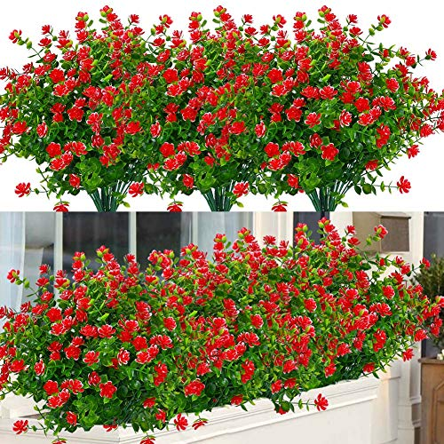6 Bundles Outdoor Artificial Flowers UV Resistant Fake Boxwood Plants, Faux Plastic Greenery for Indoor Outside Hanging Plants Garden Porch Window Box Home Wedding Farmhouse Decor (Red)