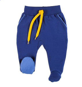 BOYS PANTS NAVY YELLOW FOOTED